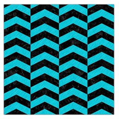 Chevron2 Black Marble & Turquoise Colored Pencil Large Satin Scarf (square)