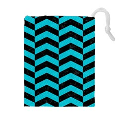 Chevron2 Black Marble & Turquoise Colored Pencil Drawstring Pouches (extra Large)