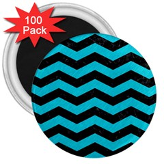 Chevron3 Black Marble & Turquoise Colored Pencil 3  Magnets (100 Pack)