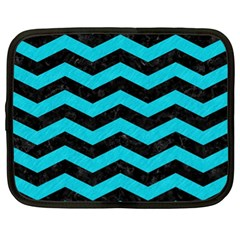 Chevron3 Black Marble & Turquoise Colored Pencil Netbook Case (xl)