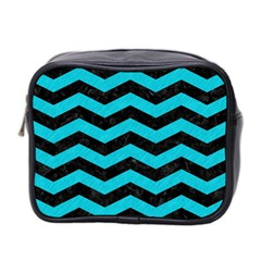 Chevron3 Black Marble & Turquoise Colored Pencil Mini Toiletries Bag 2 Side
