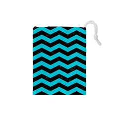 Chevron3 Black Marble & Turquoise Colored Pencil Drawstring Pouches (small)