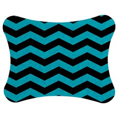 Chevron3 Black Marble & Turquoise Colored Pencil Jigsaw Puzzle Photo Stand (bow)