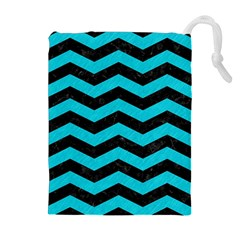 Chevron3 Black Marble & Turquoise Colored Pencil Drawstring Pouches (extra Large)