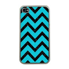 Chevron9 Black Marble & Turquoise Colored Pencil Apple Iphone 4 Case (clear)