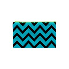 Chevron9 Black Marble & Turquoise Colored Pencil Cosmetic Bag (xs)