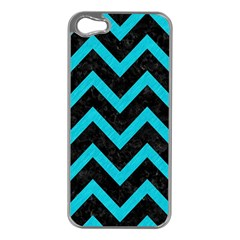 Chevron9 Black Marble & Turquoise Colored Pencil (r) Apple Iphone 5 Case (silver)