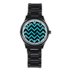 Chevron9 Black Marble & Turquoise Colored Pencil (r) Stainless Steel Round Watch