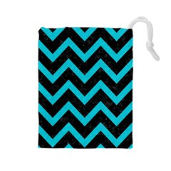 Chevron9 Black Marble & Turquoise Colored Pencil (r) Drawstring Pouches (large)