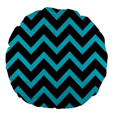 Chevron9 Black Marble & Turquoise Colored Pencil (r) Large 18  Premium Flano Round Cushions