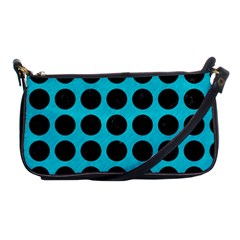 Circles1 Black Marble & Turquoise Colored Pencil Shoulder Clutch Bags