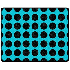 Circles1 Black Marble & Turquoise Colored Pencil Fleece Blanket (medium)