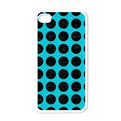 Circles1 Black Marble & Turquoise Colored Pencil Apple Iphone 4 Case (white)
