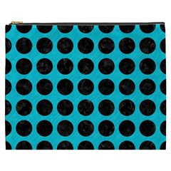 Circles1 Black Marble & Turquoise Colored Pencil Cosmetic Bag (xxxl)