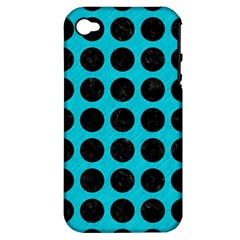 Circles1 Black Marble & Turquoise Colored Pencil Apple Iphone 4/4s Hardshell Case (pc+silicone)