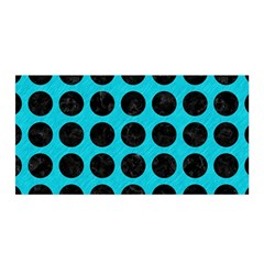 Circles1 Black Marble & Turquoise Colored Pencil Satin Wrap