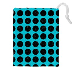 Circles1 Black Marble & Turquoise Colored Pencil Drawstring Pouches (xxl)