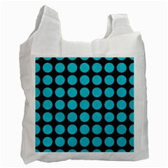 Circles1 Black Marble & Turquoise Colored Pencil (r) Recycle Bag (two Side)