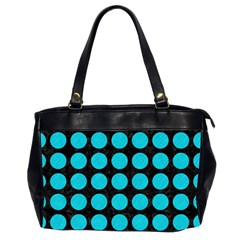 Circles1 Black Marble & Turquoise Colored Pencil (r) Office Handbags (2 Sides)