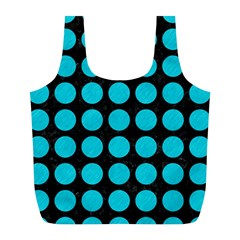 Circles1 Black Marble & Turquoise Colored Pencil (r) Full Print Recycle Bags (l)