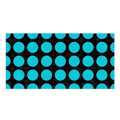 Circles1 Black Marble & Turquoise Colored Pencil (r) Satin Shawl