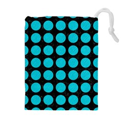 Circles1 Black Marble & Turquoise Colored Pencil (r) Drawstring Pouches (extra Large)