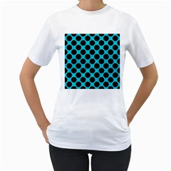 Circles2 Black Marble & Turquoise Colored Pencil Women s T Shirt (white) (two Sided)