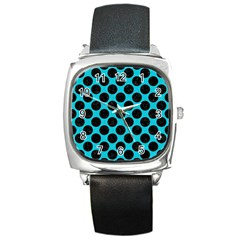 Circles2 Black Marble & Turquoise Colored Pencil Square Metal Watch
