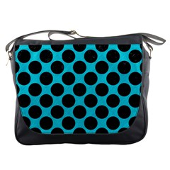Circles2 Black Marble & Turquoise Colored Pencil Messenger Bags