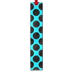 Circles2 Black Marble & Turquoise Colored Pencil Large Book Marks