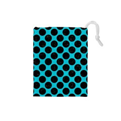Circles2 Black Marble & Turquoise Colored Pencil Drawstring Pouches (small)