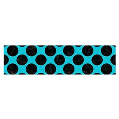 Circles2 Black Marble & Turquoise Colored Pencil Satin Scarf (oblong)