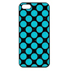 Circles2 Black Marble & Turquoise Colored Pencil (r) Apple Iphone 5 Seamless Case (black)