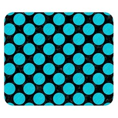Circles2 Black Marble & Turquoise Colored Pencil (r) Double Sided Flano Blanket (small)