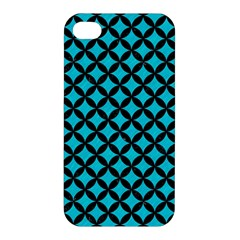 Circles3 Black Marble & Turquoise Colored Pencil Apple Iphone 4/4s Hardshell Case