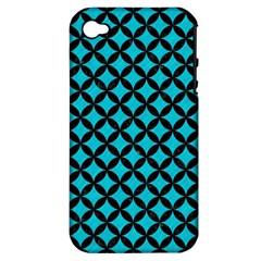 Circles3 Black Marble & Turquoise Colored Pencil Apple Iphone 4/4s Hardshell Case (pc+silicone)