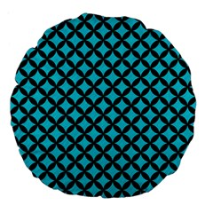 Circles3 Black Marble & Turquoise Colored Pencil Large 18  Premium Flano Round Cushions