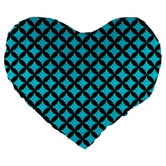 Circles3 Black Marble & Turquoise Colored Pencil Large 19  Premium Flano Heart Shape Cushions