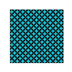 Circles3 Black Marble & Turquoise Colored Pencil Small Satin Scarf (square)
