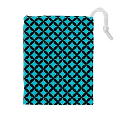 Circles3 Black Marble & Turquoise Colored Pencil Drawstring Pouches (extra Large)