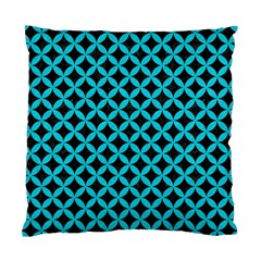 Circles3 Black Marble & Turquoise Colored Pencil (r) Standard Cushion Case (two Sides)