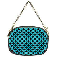 Circles3 Black Marble & Turquoise Colored Pencil (r) Chain Purses (two Sides)
