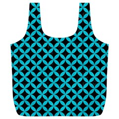 Circles3 Black Marble & Turquoise Colored Pencil (r) Full Print Recycle Bags (l)