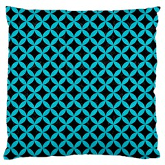Circles3 Black Marble & Turquoise Colored Pencil (r) Large Flano Cushion Case (two Sides)