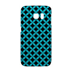 Circles3 Black Marble & Turquoise Colored Pencil (r) Galaxy S6 Edge
