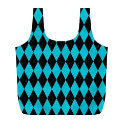 Diamond1 Black Marble & Turquoise Colored Pencil Full Print Recycle Bags (l)