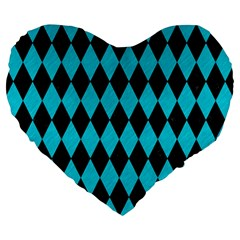 Diamond1 Black Marble & Turquoise Colored Pencil Large 19  Premium Flano Heart Shape Cushions