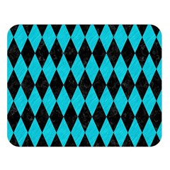 Diamond1 Black Marble & Turquoise Colored Pencil Double Sided Flano Blanket (large)