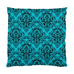 Damask1 Black Marble & Turquoise Colored Pencil Standard Cushion Case (two Sides)