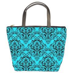 Damask1 Black Marble & Turquoise Colored Pencil Bucket Bags